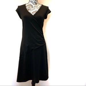 Athleta Nectar Black Faux Wrap Dress Size Small